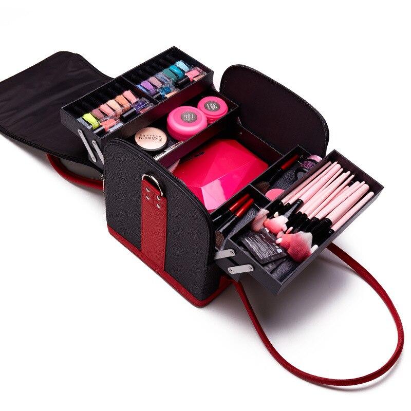 Fashion Women Cosmetic Case Makeup Bag Organizer Ladies' Beauty Box Large Multilayer Clapboard Box Portable Pretty Suitcase