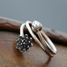 925 Sterling Silver Old Craftsman Handcrafted Lotus Ring Leaf Fine Simple Trendy Open Lady Accessories