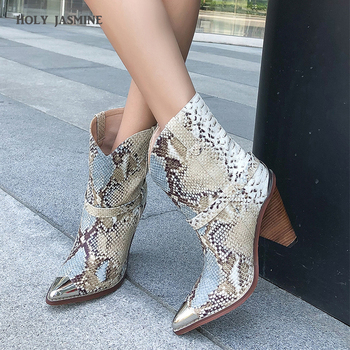 2020 Spring/Autumn Chic Leather Ankle Boots Women Metal Pointed Toe Tassel Strange High Heel Boots Woman Fashion Western Boots brand sheep skin leather mesh air pumps fashion ankle boots for women sexy pointed toe cowboy boots woman high heel summer boots