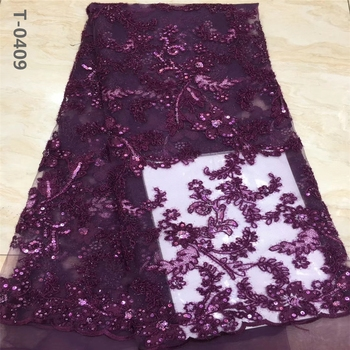 African Lace Fabric 2020 High Quality Lace Sequins French Net Lace Tulle Mesh Fabrics Latest Onion Color Lace Fabrics