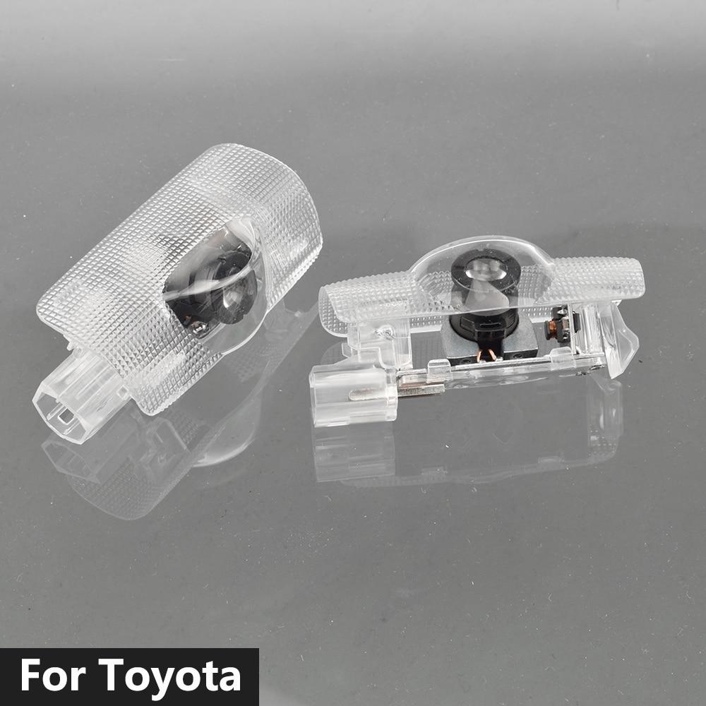 2pcs Car LED Door Welcome Light Laser Projector For Toyota Camry 40 50 55 70 Sienna 20 30 Prius 30 Highlander Kluger 2001 - 2019