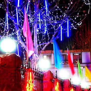 50CM Meteor Shower Rain Tubes String Light LED Falling Lamp Christmas Tree Lights Wedding Decorative Light Garden Lamp 30cm 10 tubes waterproof meteor shower rain tubes rgb 360 led light lamp solar power christmas light wedding garden decoration