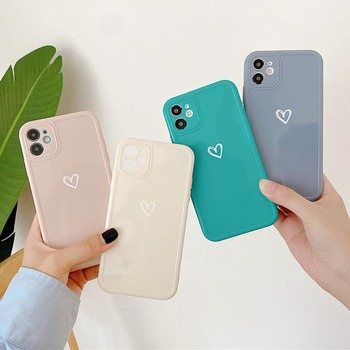moskado Camera Protection Love Heart Glossy Phone Cover For iPhone 11 Pro Max X XR XS Max 7 8 7Plus Soft Silicone Cases Cover image