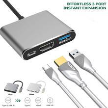 3 in 1 USB 3.1 HUB Converter Installa Remove Convenient Simple Aluminum Alloy USB3.0 Type-C PD 4K HDMI-compatible Adapter