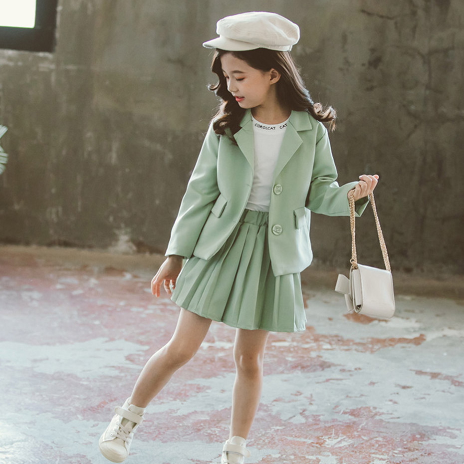 Image 5 - Girls Clothes Pleated Skirt & Jacket Girls Clothing Solid Outerwear Suit For Girls School Uniform Fashion Kid Winter ClothesClothing Sets   -