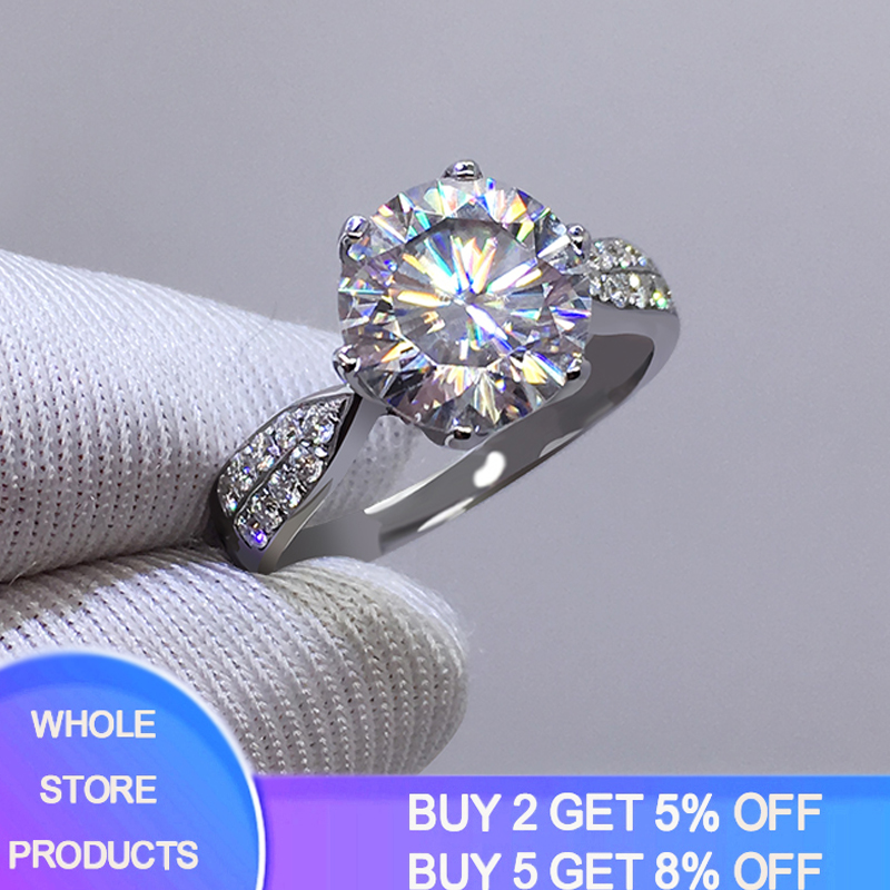 YANHUI With Certificate Real Original 925 Solid Silver Rings For Women Luxury 3 Carat Zirconia Diamond Rings Fine Jewelry R006