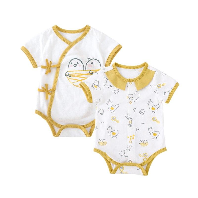 Pureborn Newborn 2 Pack Unisex Baby Bodysuit Short Sleeve Printed Baby Boy Girl Bodysuit Breathable Cotton Summer Baby Onesies