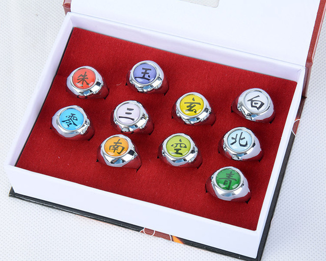 Hot Japan Anime Naruto Ring Cosplay Costumes Acc Badge Akatsuki Uchiha Itachi Orochimaru Ring Set Pain Konan Sasori Cartoon Gift