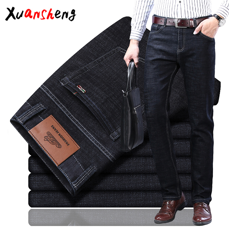 Xuan Sheng Stretch Men's Jeans Autumn Thick Business Casual Work Clothing Classic Blue Black Loose Straight Men's Trousers Jeans