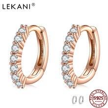 Lekani 100% 925 стерлингового серебра круглые серьги кольца