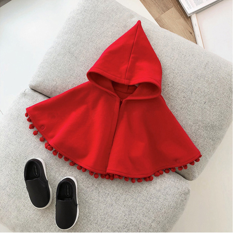 2021 New Fashion Baby Girl Winter Clothes Red Hooded Cape Cloak Baby Clothes Boy Infant Hooded Cape Baby Girl Winter Clothes 5