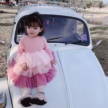 Spring Autumn cute girls fashion layered dress 2019 kids cotton mesh patchwork princess dresses