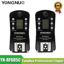 YONGNUO disparador de Flash inalámbrico RF 605C, RF 605N de 2,4 GHz, pantalla LCD TX/RX, Control remoto, lanzamiento de lanzadera para Canon, Nikon y Pentax