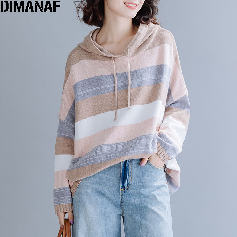 DIMANAF Plus Size Women Sweater Winter Pullovers Hooded Knitting Cotton Fashion Striped Loose Oversize Lady Tops Female Clothes