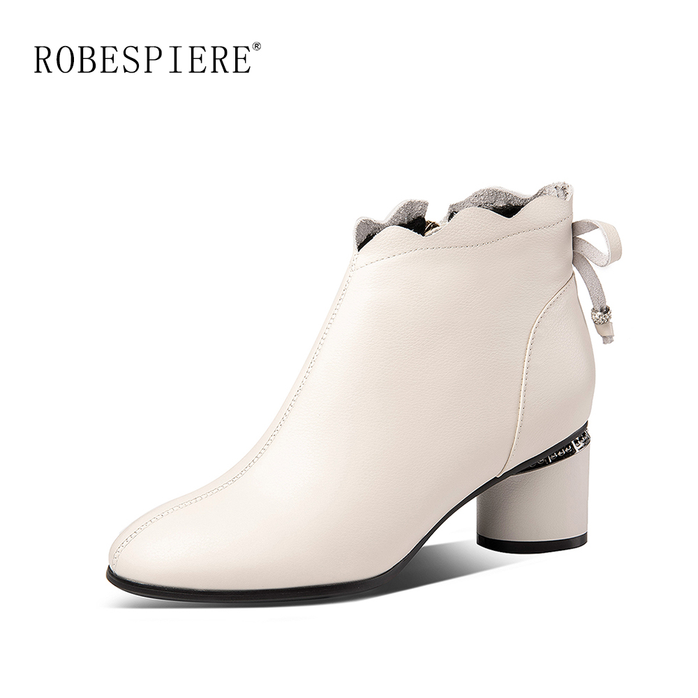 ROBESPIERE Winter Women 39 s Ankle Boots Fashion Butterfly Knot Design Round High Heels Shoes Handmade Genuine Leather Zip Boots B5 in Ankle Boots from Shoes