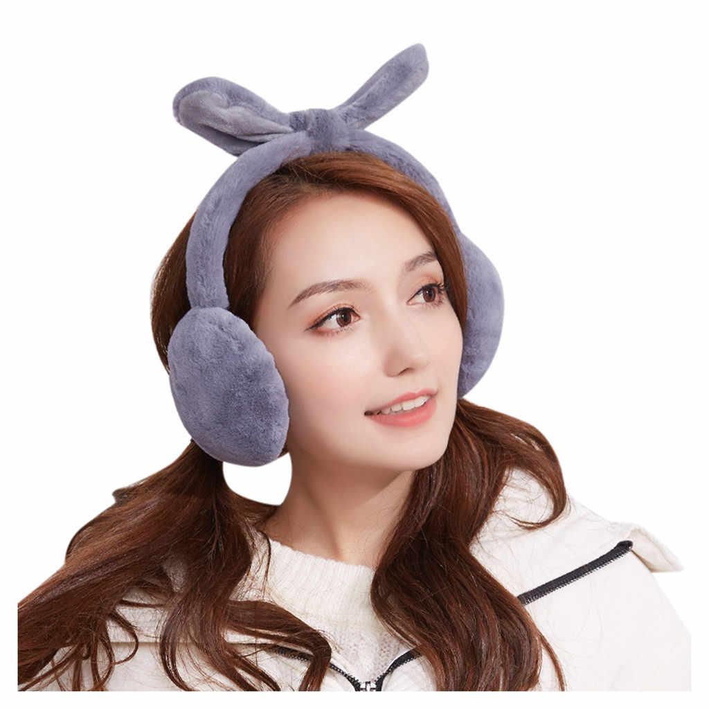 2019 nowa jesienno-zimowa futerko nauszniki śliczne ucho królika nauszniki pluszowe nauszniki dla dziewczynek panie kobiety Hairbands ciepłe nauszniki