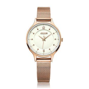Julius Uhr Für Frauen Ultra-dünne 6,5mm frauen Edelstahl Band Luxus Geschenk Uhr Dual-Schicht zifferblatt Modus montre JA-1060