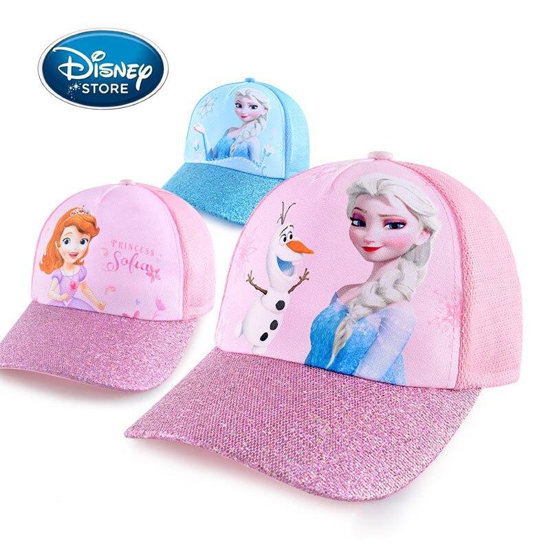 Disney Summer Caps Frozen Elsa Anna Sofia Girls Hats Sequins Girl Baseball Cap Hip Hop Caps Kids Hat For Spring Baby Accessories