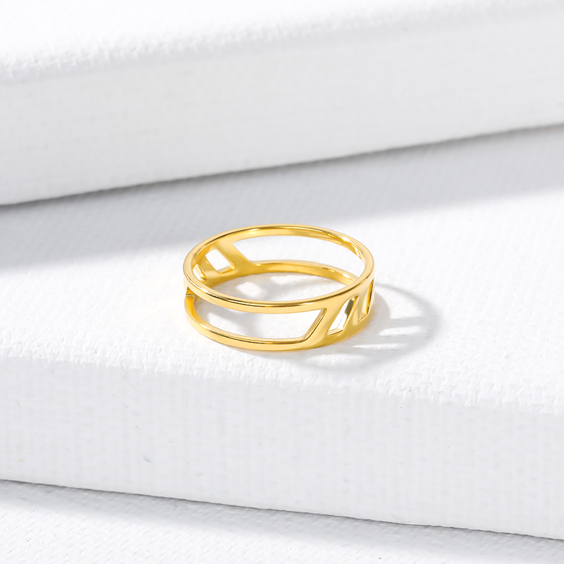 2019 Wholesale Fashion Ring Double slash Hollow Stainless Steel Gold Rings For Women Geometric Anillos Bijoux Femme in Rings from Jewelry Accessories