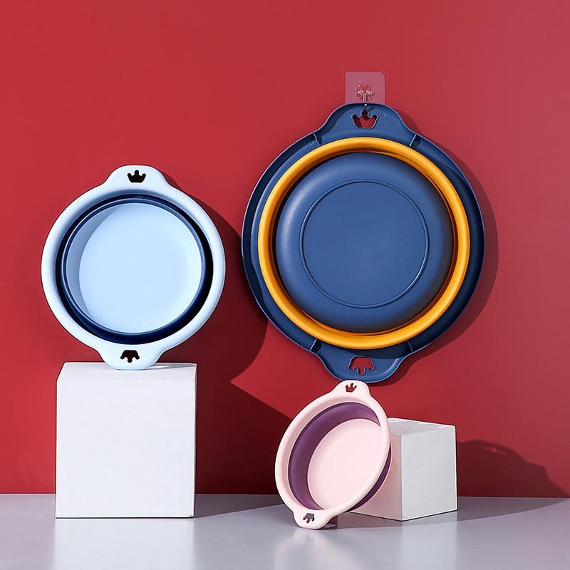 New 2021 Plastic Folding Basins Portable Wash Basins Folding Laundry Bathroom Kitchen Travel Folding Cute Baby Portable Basins