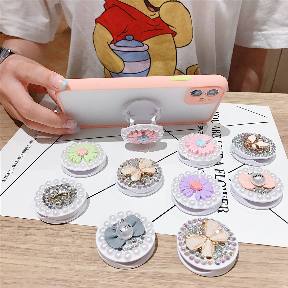Luxury Fashion Cute Phone Holder Stand Daisy Flower Bling Diamond Butterfly Mobile Grip for iPhone 11 XR Finger Ring Holder Girl