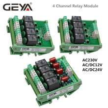 цена на GEYA 4 Channel Relay Module 1 SPDT DIN Rail Mount 12V 24V DC/AC Interface Relay Module for PLC