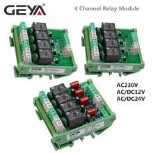 GEYA 4 Channel Relay Module 1 SPDT DIN Rail Mount 12V 24V DC/AC Interface Relay Module for PLC new original fx1s 30mr d plc 24v dc relay output base unit