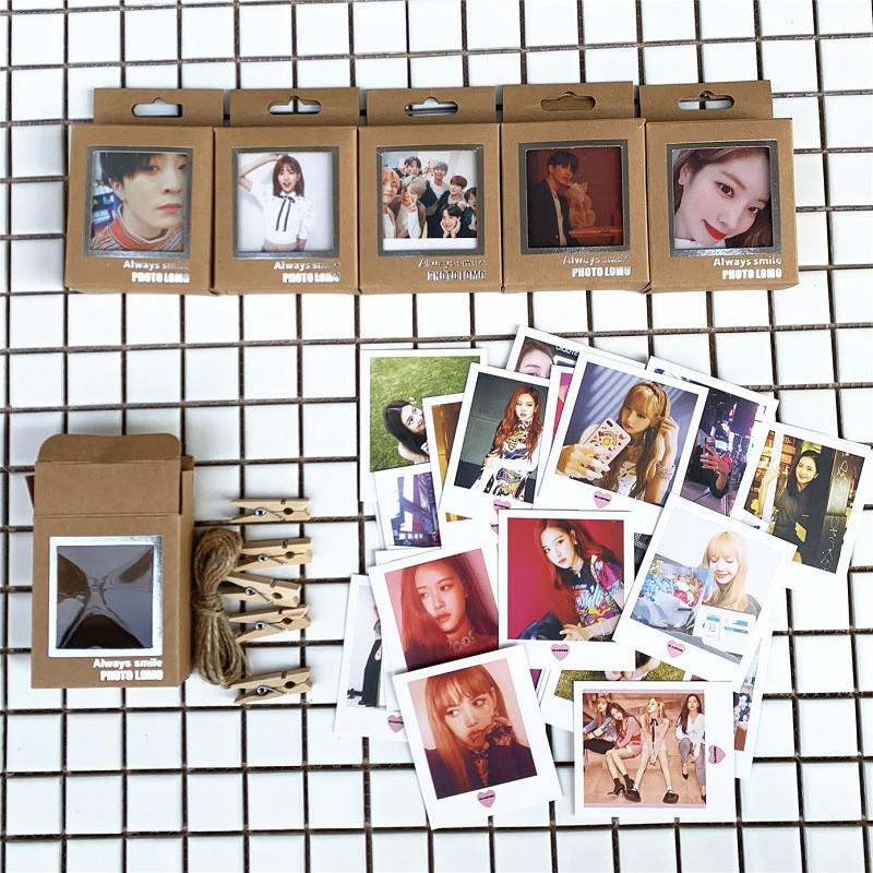 Kpop Bangtan Boys Lomo Cards Blackpink Izone Got7 Seventeen Twice Photo Cards Lomo 40pcs Small Cards With Clips And Rope