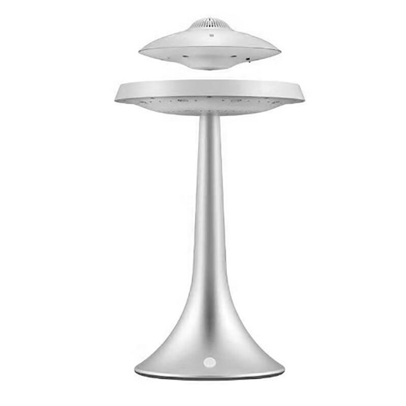 Смарт Bluetooth колонки бас стерео Магнитная подвеска НЛО Стиль Дизайн семь цветов светодиодный водонепроницаемый беспроводной зарядки - Цвет: silvery