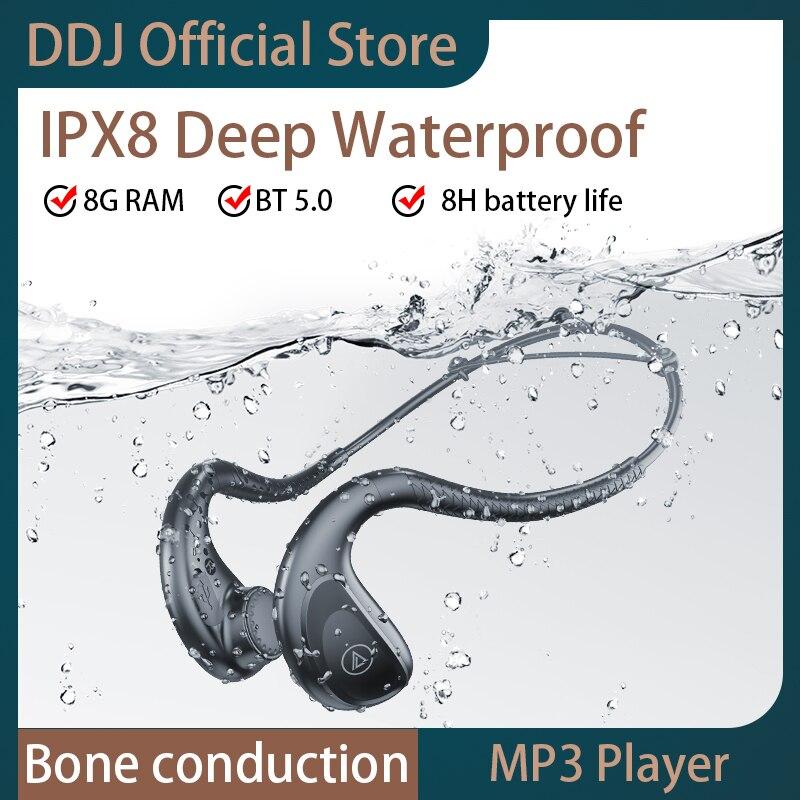 Водонепроницаемые наушники, Беспроводная стереогарнитура Bluetooth с костной проводимостью, 8 Гб ОЗУ, IPX8, спортивные наушники для плавания для ...