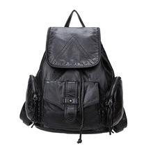 Women Pu Leather Soft Black BackPack Female  Large Capacity Ladies Bagpacks for Teenage Student Bags free shipping