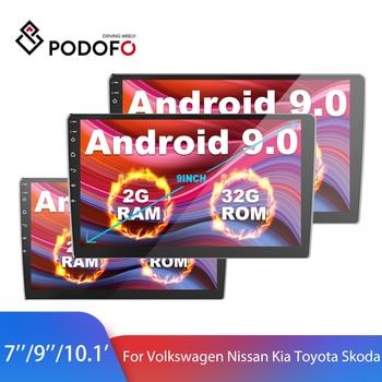 """Podofo 2Din la Radio del coche de GPS 7 """"y"""" 9 """"y 10"""" Android reproductor Multimedia para auto Volkswagen Nissan Kia Toyota Skoda Polo Golf Universal"""