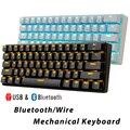 Bluetooth механические игровые клавиатуры Тонкий 61 клавиши RGB с одной подсветкой Подсветка поддержка Wins/Android/iOS