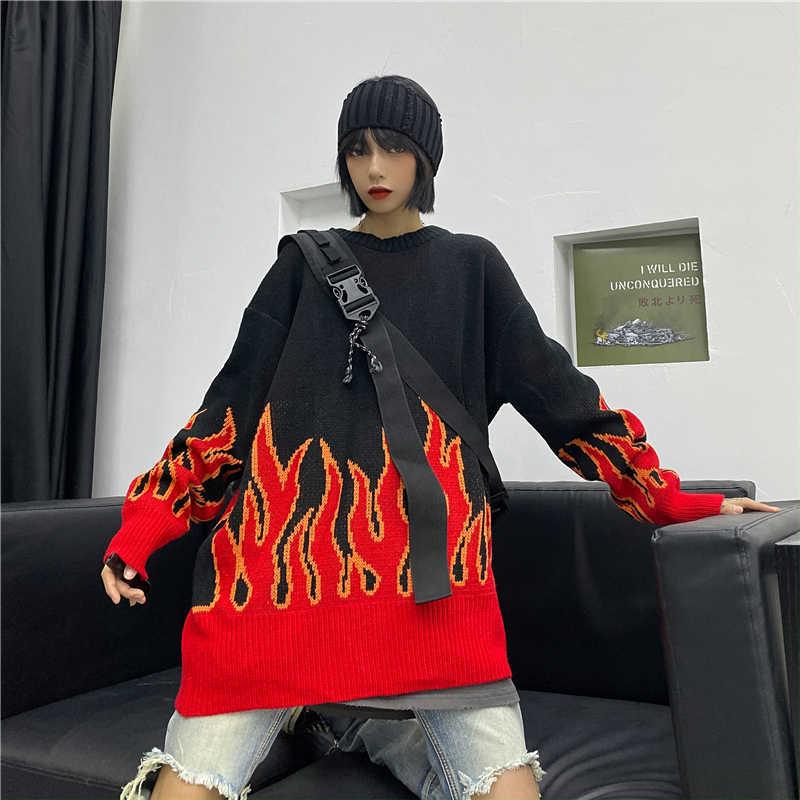 Gevşek Harajuku kadın kazak örme üst bahar sonbahar alev kazak kadın moda uzun kıyafet kazak artı boyutu харадзюку