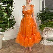 Fivsole 2021 Orange Tulle A Line Evening Dress 3D Flowers Straps Tiered Bow Shoulder Buttons Front Ankle Length Party Prom Gowns