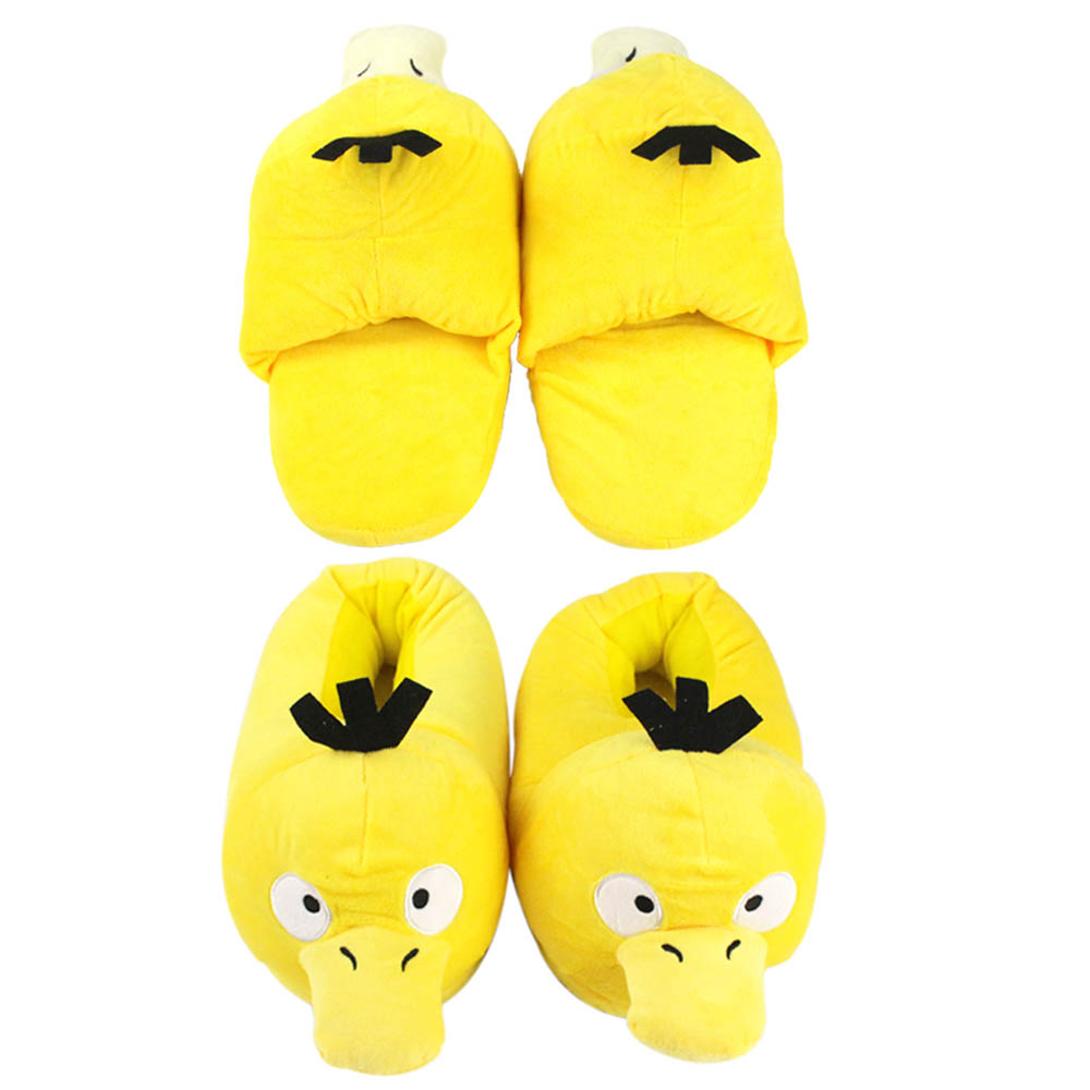 33cm Psyduck Plush Shoes Cartoon Animal Yellow Duck Cosplay Psyduck Anime Slippers Gift For Kids