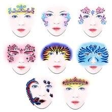10 arten Wiederverwendbare Gesicht Malen Airbrush Glitter Tattoo Temporäre Schablone Körper Malen Gesichts Make-Up Vorlage Zeichnung Tattoo