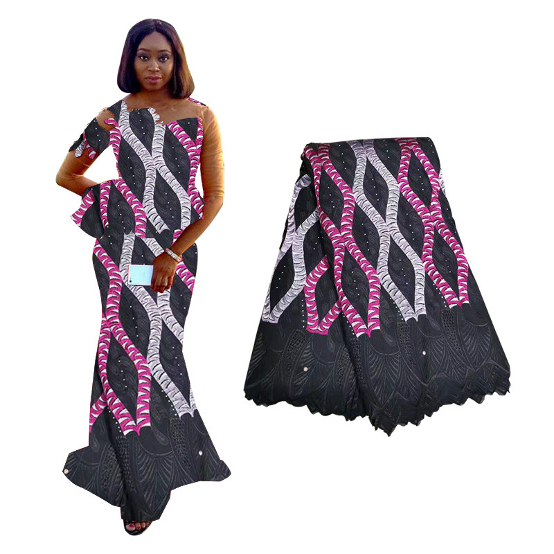 2019 Black Beaded African Lace Fabric High Quality Floral Embroidery Nigerian French Bridal Lace Fabric With Diamond Decoration