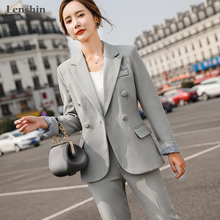 Coat Double-Breasted Women Pant Trouser Suit-Style Two-Pieces-Set Office Lady Lenshin