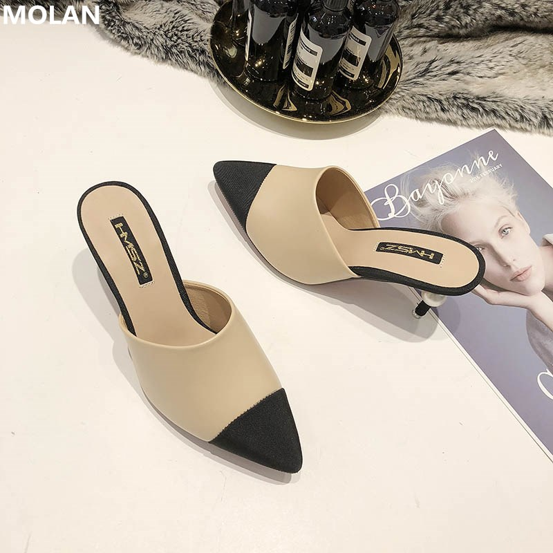 MOLAN Brand Designer 2020 Summer Luxury Pearl Mix Color High Thin Heel Lady Pumps Leather Slip On Loafers Mules Flip Flops 35-40