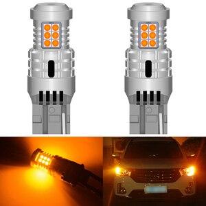 Image 1 - 2 pces carro 7440 led sem hyper flash âmbar amarelo laranja t20 w21w 1156 7507 bau15s p21w py21w lâmpadas led transformar luzes de sinalização canbus