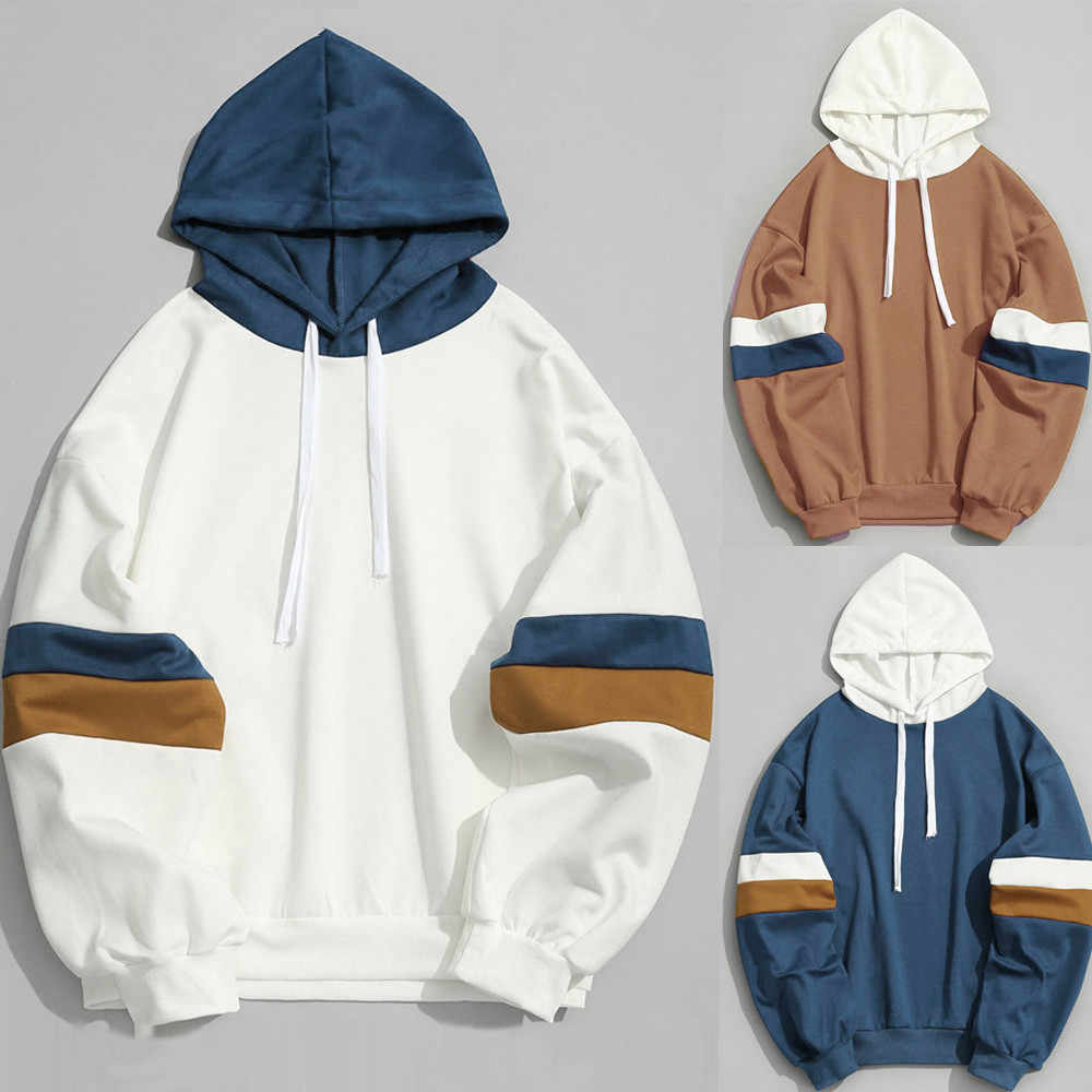 2019 Hooded Shirt Sweatshirt Brand men's Casual Patchwork Stitching Parallel Bars Slim Hoodie Jacket Hip Hop Headscarf M40#