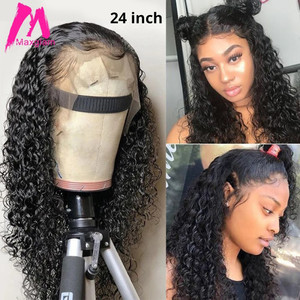 Curly Human Hair Wig Lace Front Wigs Deep Wave Frontal Wig Brazilian For Black Women Pre Plucked Loose Natural Water Afro Remy(China)