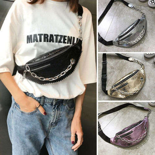 Hot Fashion Waist Fanny Pack Women PU Leather Belt Zipper Waist Bag Chest Tote Purse Waist Packs