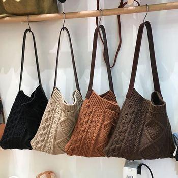 Осенне-зимние шерстяные женские сумки через плечо, большая вместительность, для покупок, Женская сумочка, вязаные однотонные сумки через пл...