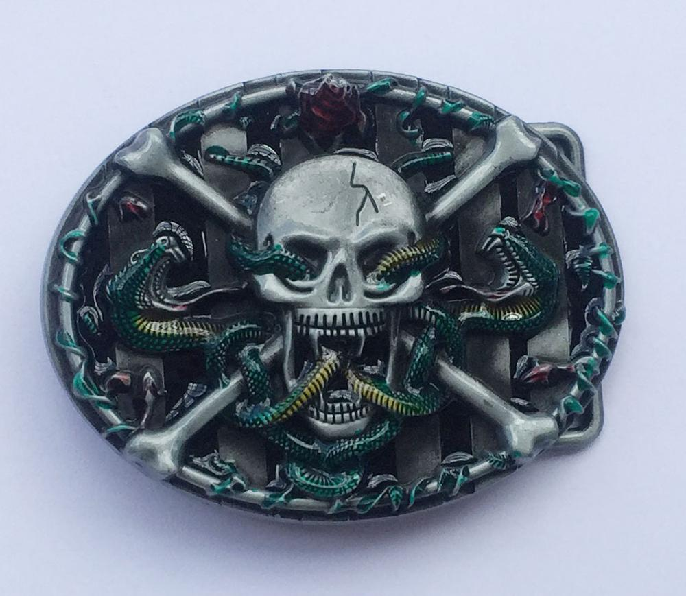 Men Belt Buckles Metal Skull & Cross Mens Designer Silver Belt Buckles
