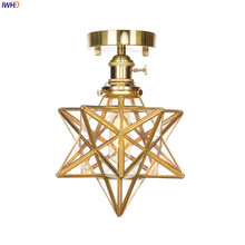 IWHD Creative Copper Stars Ceiling Light Glass LED Ceiling Lamp Switch Modern Bedroom Light RH Fixtures For Home Lighting iwhd mirror glass iron vintage ceiling light fixtures loft edison industrial ceiling lamp hallway antique lamps home lighting