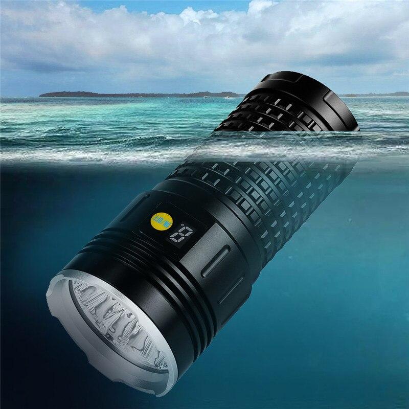 XML T6 x 7 LED chasse Flashligt 4X18650 batterie torche lumineuse chasse torche étanche rechargeable lampe de poche LED