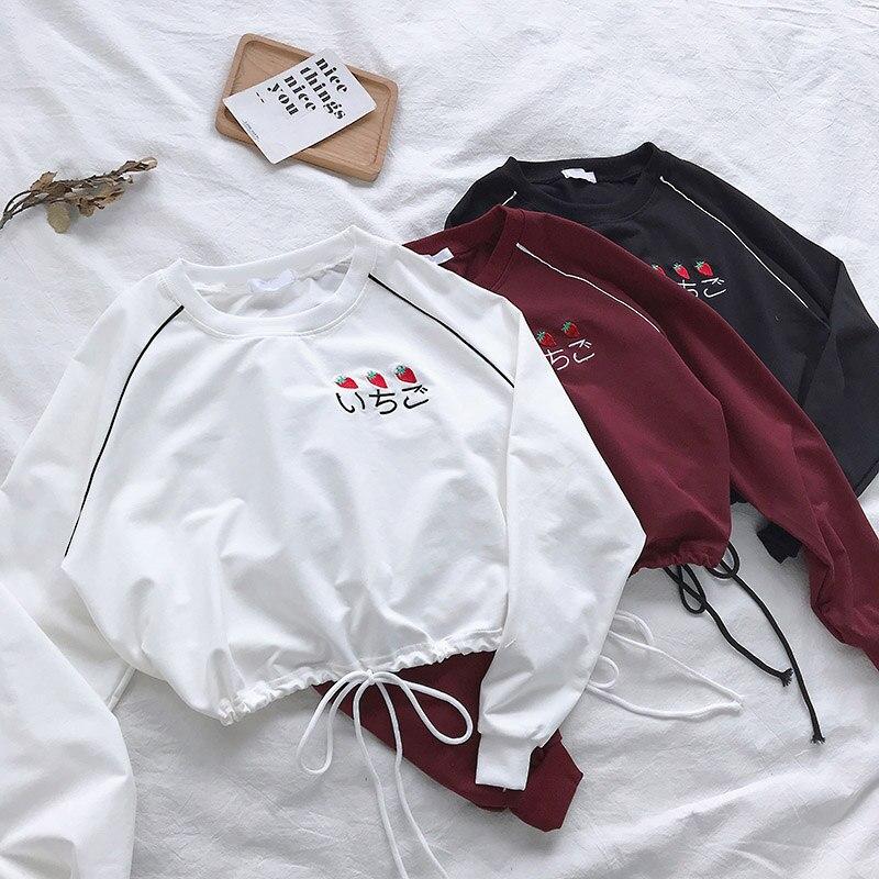 ALI shop ...  ... 4000269105718 ... 2 ... Korean casual Tees autumn T-shirts Women Long Sleeve letter embroidery Loose Simple short t shirt Harajuku black white crop top ...