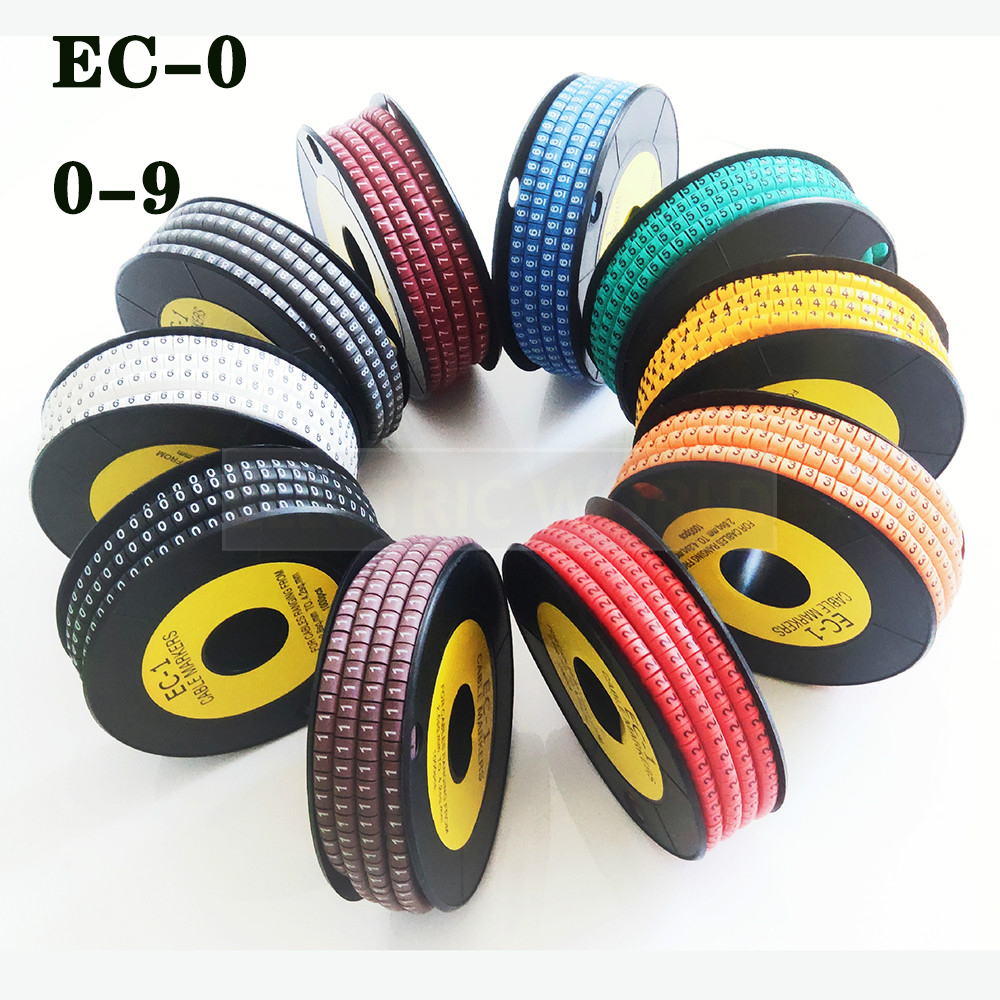 Cable Marker Label EC-0 Cable Wire Marker Number 0 To 9 Cable Size 1.5 Sqmm Mix Colored PVC Cable Markers Insulation Marker